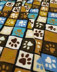 earthy paw print fleece